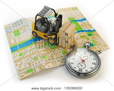 Forklift with cardboard boxes and stopwatch on the city map isolated on white.  Cargo delivery concept. 3d illustration