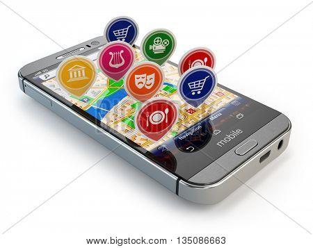 Mobile GPS navigation concept. Smartphone and application with restaurants, cinema, markets. 3d illustration