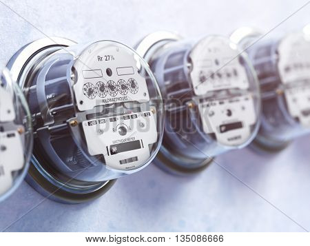 Row of analog electric meters. Electricity consumption concept. 3d illustration