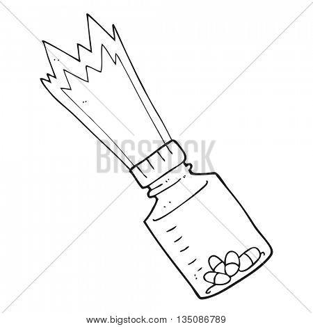freehand drawn black and white cartoon jar of pills