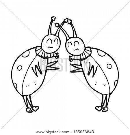 freehand drawn black and white cartoon ladybugs greeting