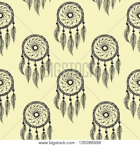 Drawing of a seamless pattern with black line art of native american dreamcatcher with feathers and beads  on a peach color  background