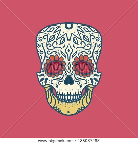 Mexican Skull with ornament for print sticker wrap poster and greeting. Day of the Death. Vector