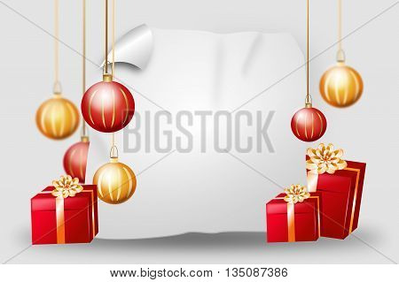 Blank christmas background with red golden gifts and christmas bulbs
