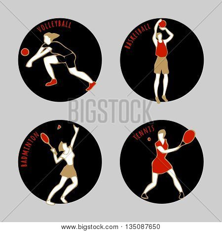 Vector illustration of Athletes. Volleybal. Basketball. Badminton. Tennis. Summer games. Round sports icons with sportsmen for competitions or championship design.