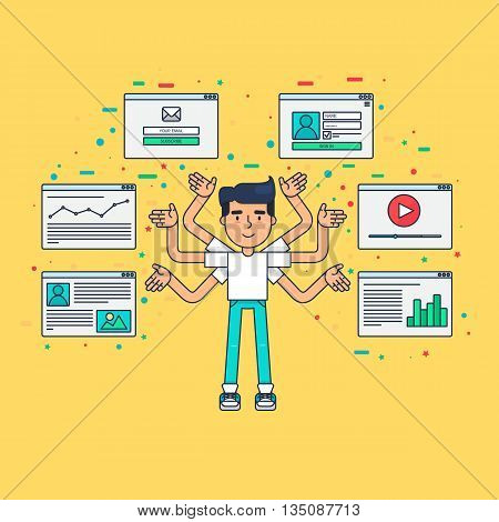 Web Life of Developer Programmer System Administrator or Designer from video blog social networks online shopping and email. Graphic user interface and web pages forms and elements. Vector