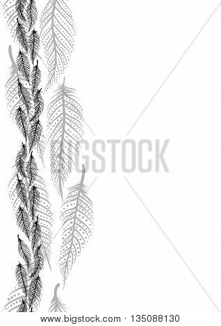 Drawing of a seamless border with black line art feathers oin a white background