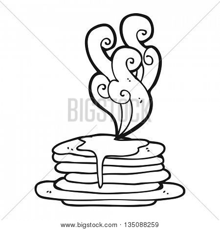 freehand drawn black and white cartoon stack of pancakes