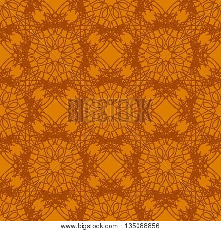 Seamless Texture on Orange. Element for Design. Ornamental Backdrop. Pattern Fill. Ornate Floral Decor for Wallpaper. Traditional Decor on Orange Background
