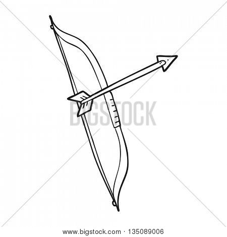freehand drawn black and white cartoon bow and arrow