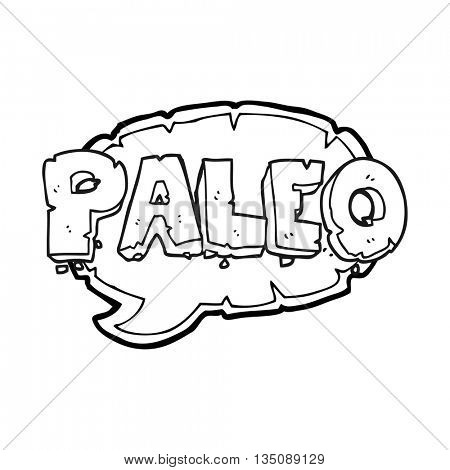 paleo freehand drawn black and white cartoon sign