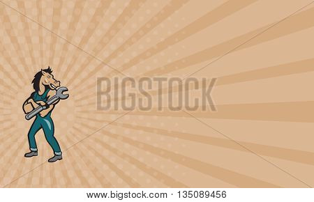 Business card showing illustration of a horse mechanic standing with arms crossed holding spanner looking to the side set on isolated white background done in cartoon style.