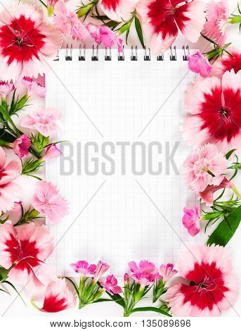 Notebook With Flowers Carnation On White Background. Love Concept.