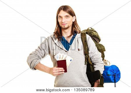 Man Tourist Backpacker Holding Money And Passport.