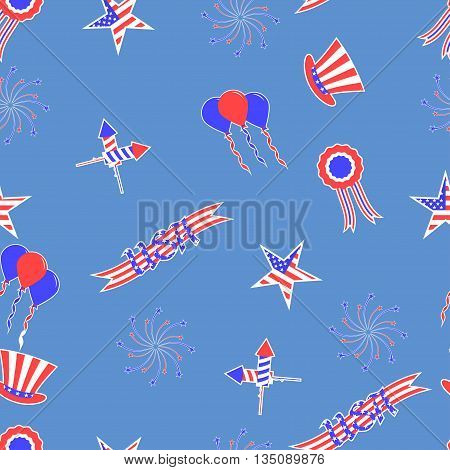 4th of July vector seamless pattern background. USA independence day vector seamless pattern. Festive background for the US national holiday.