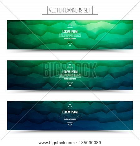 Abstract 3d vector polygonal waveform digital technology green and blue web banners set for business internet advertising ui seo