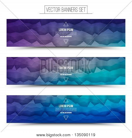 Abstract 3d vector polygonal waveform digital technology web banners set for business internet advertising ui seo