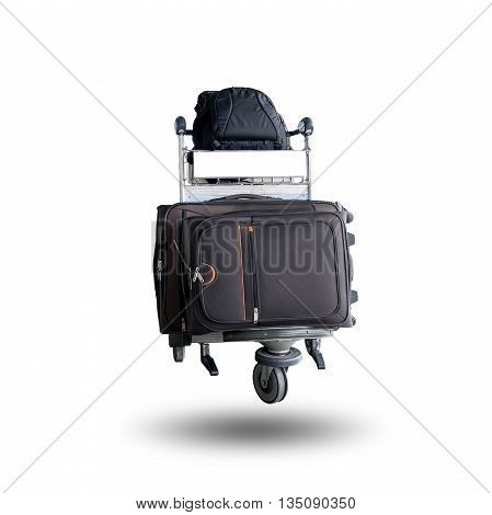 Luggage and backpack on a trolley isolated on white background.