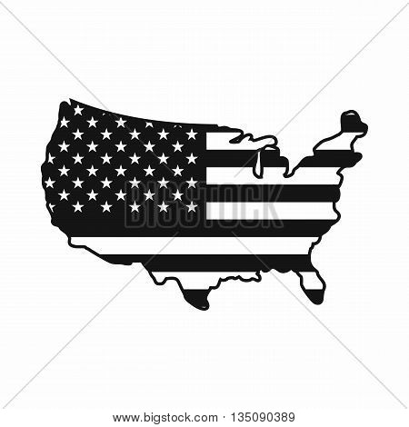 USA map icon in simple style isolated on white background