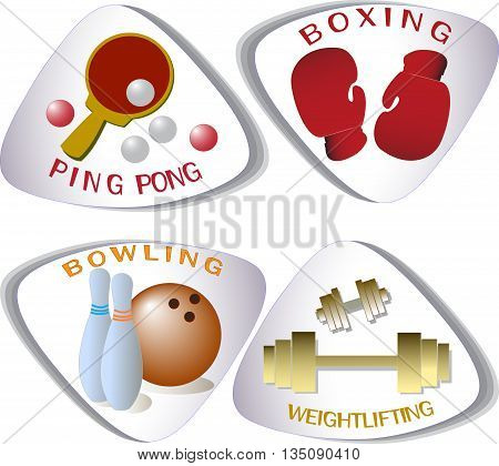 Four vector icons. Ping-pong. Boxing. Bowling. Weightlifting.