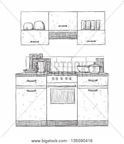 Kitchen cupboard, kitchen shelves, hand drawn furniture