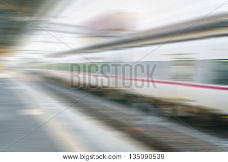 Abstract blur Train pulling into the train station