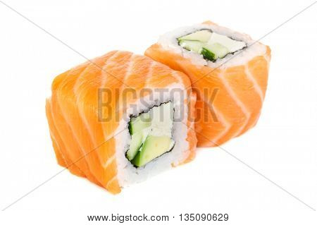 Uramaki maki sushi, two rolls isolated on white. Salmon with philadelphia, avocado and cucumber