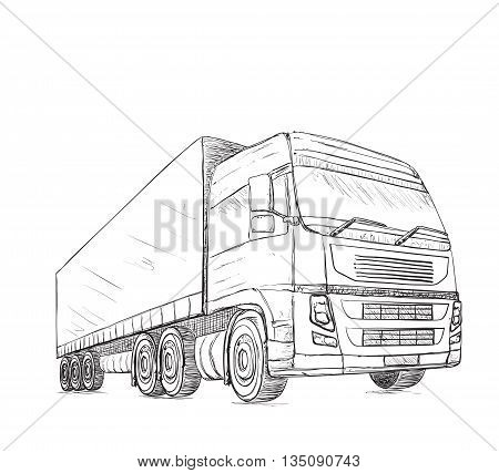 Delivery service poster. Hand drawn truck. International transport service.