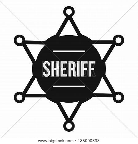 Sheriff badge icon in simple style isolated on white background