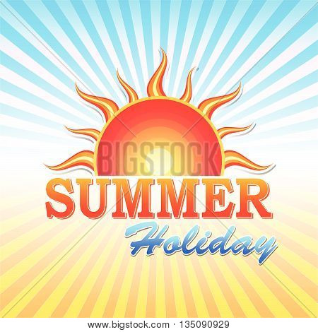 abstract summery illustration with text summer holiday and sun and rays in orange and blue, vector