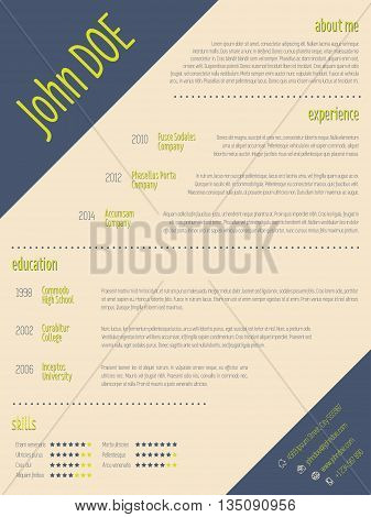 Simplistic modern resume cv curriculum vitae template design