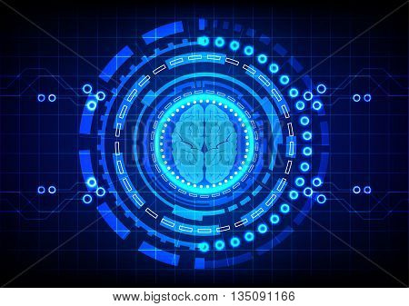 Abstract brain with circle technology concept design background. illustration vector