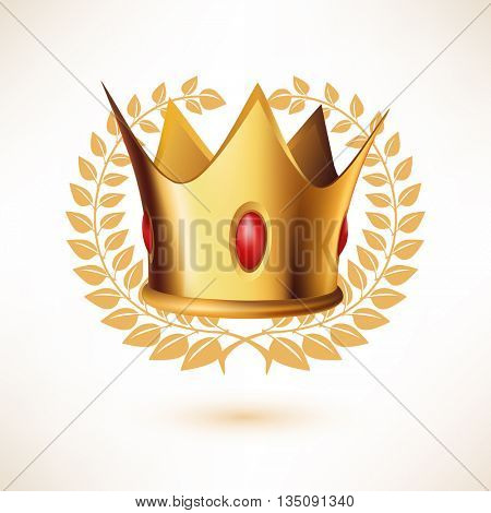 Golden Royal Crown with Laurel Wreath isolated on white.