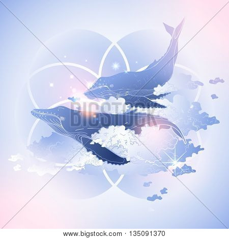 Graphic whales flying in the sky. Sea and ocean isolated creatures. Vector fantasy art in pink and blue colors