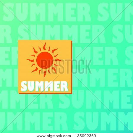 text summer and drawn sun in orange and yellow over blue background, flat design label, vector
