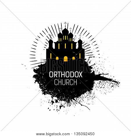 Orthodox Cathedral Church silhouette with grunge splash. Religious temple abstract emblem design. Vector logo. Grunge illustration. Orthodox emblem.