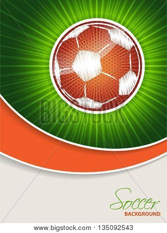 Abstract soccer brochure template with bursting orange scribbled ball