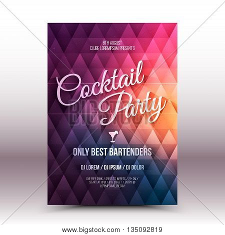 Vector flayer design template with calligraphic text Cocktail Party
