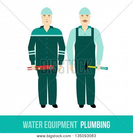 Vector flat icon plumbing, along with tools. Web design, booklets, brochures, advertisements, manuals, technical descriptions. Isolated on a white background.