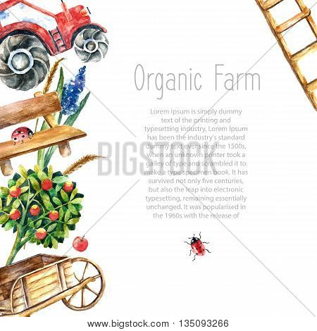 Watercolor organic farm frame. Greeting card background with tractor, sunflower, truck, fence, basket, butterfly, ladybug and spica with place for text. vector