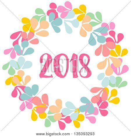 Pastel laurel vector wreath New Year 2018 frame isolated on white background