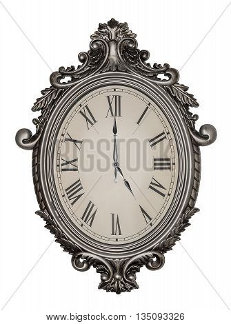 Five o'clock. Antique wall clock isolated on white background.