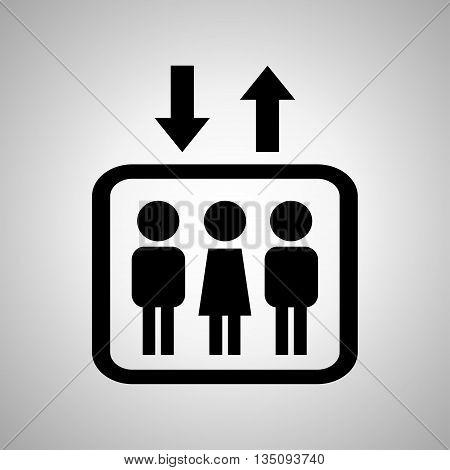 Lift or elevator symbol on a black background. Vector illustration.