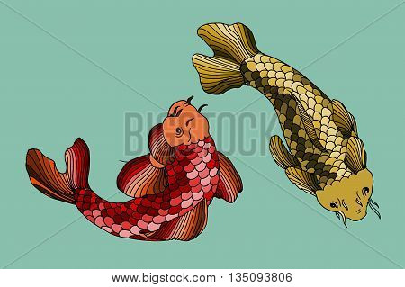 Catfish fish image. Hand drawn vector stock illustration.