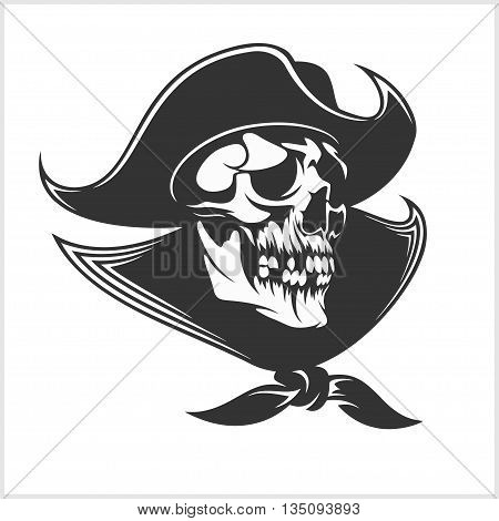 Jolly Roger with eyepatch logo template. Dark t-shirt design. Pirate insignia concept.