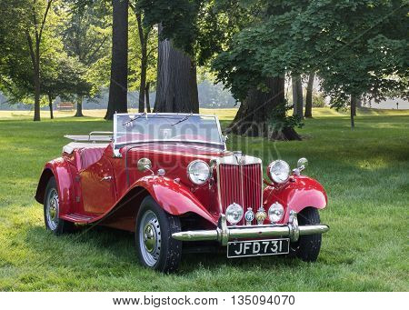 GROSSE POINTE SHORES MI/USA - JUNE 19 2016: A 1950 MG TD car at the EyesOn Design car show, held at the Edsel and Eleanor Ford House, near Detroit, Michigan.