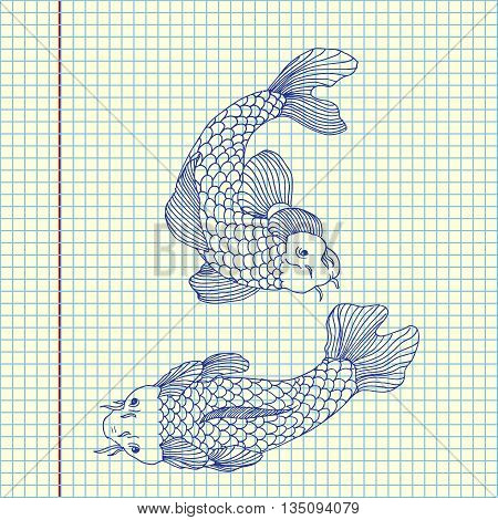 Catfish fish image. Hand drawn vector stock illustration. Sheet ballpen drawing