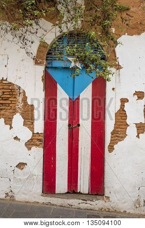 Door of a ruined house in San Juan Puerto Rico