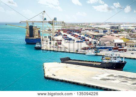 Cargo harbor on Aruba island, The Caribbeans