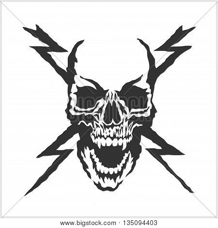 vector skull danger sign isolated on white